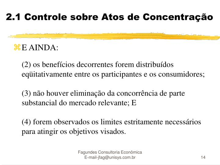 2.1 Controle sobre Atos de Concentração