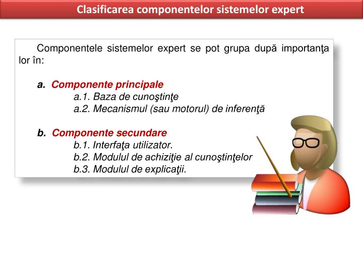 Clasificarea componentelor sistemelor expert
