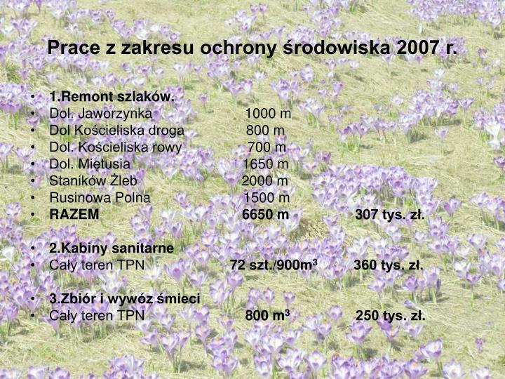 Prace z zakresu ochrony środowiska 2007 r.