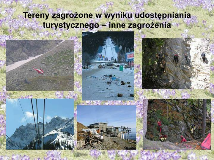 Tereny zagrożone w wyniku udostępniania turystycznego – inne zagrożenia