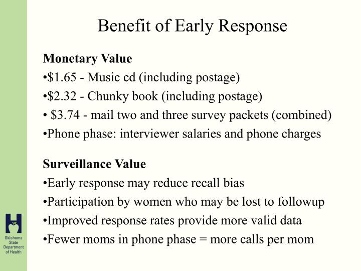 Benefit of Early Response