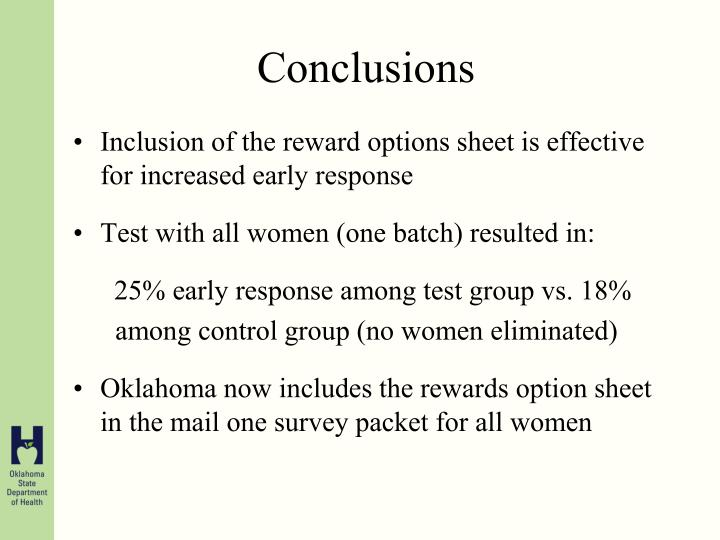 Inclusion of the reward options sheet is effective for increased early response
