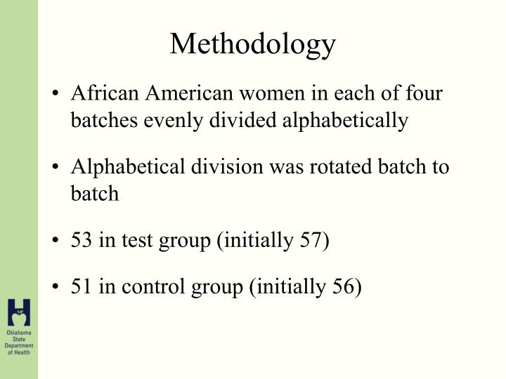 African American women in each of four batches evenly divided alphabetically