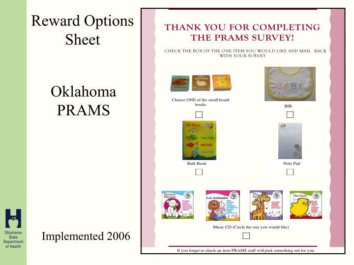 Reward Options Sheet