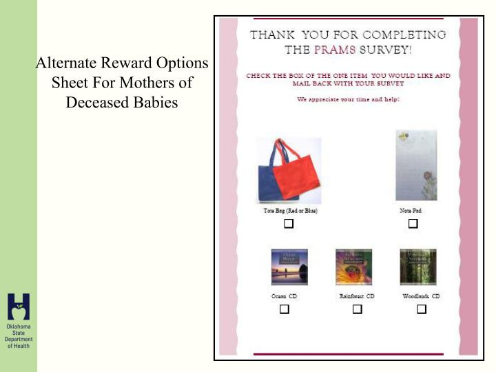 Alternate Reward Options Sheet For Mothers of Deceased Babies