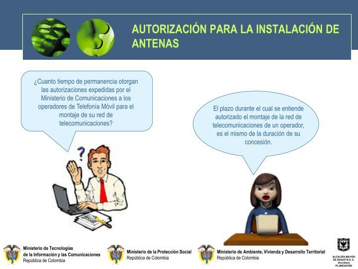 AUTORIZACIÓN PARA LA INSTALACIÓN DE ANTENAS