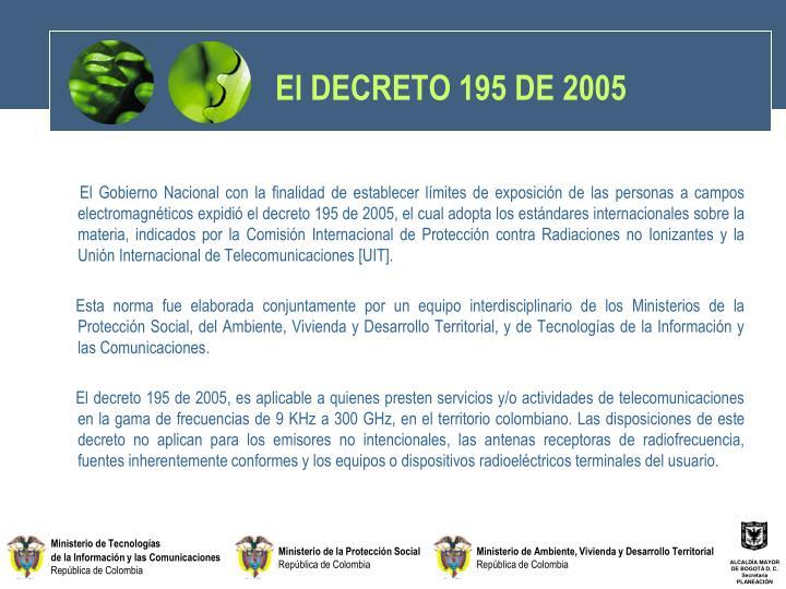 El DECRETO 195 DE 2005