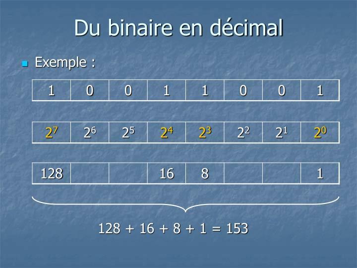 Du binaire en décimal