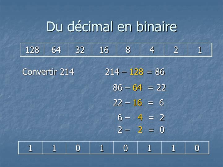Du décimal en binaire
