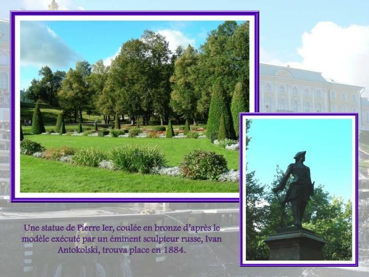 Une statue de Pierre Ier, coule en bronze daprs le modle excut par un minent sculpteur russe, Ivan