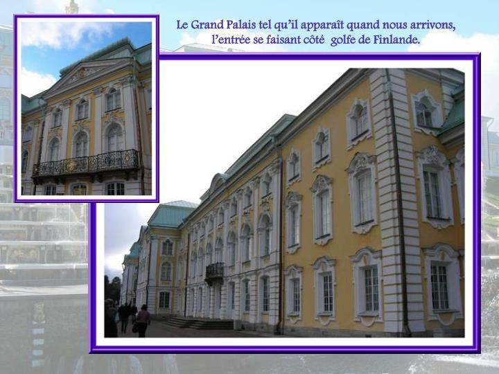 Le Grand Palais tel quil apparat quand nous arrivons, lentre se faisant ct  golfe de Finlande.