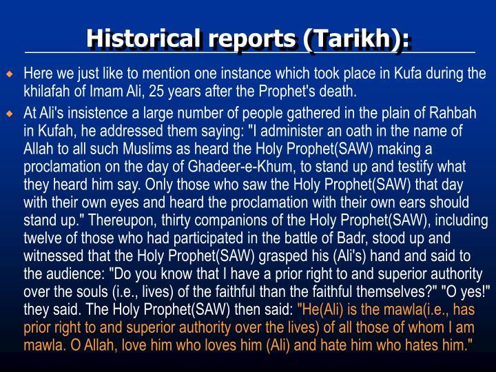 Historical reports (Tarikh):