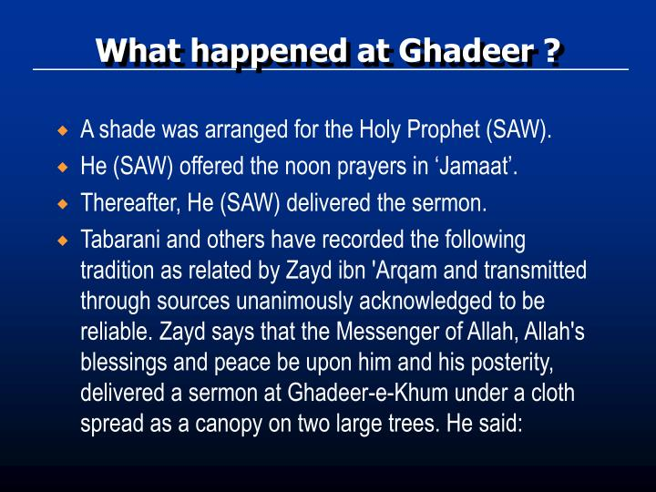 What happened at Ghadeer ?
