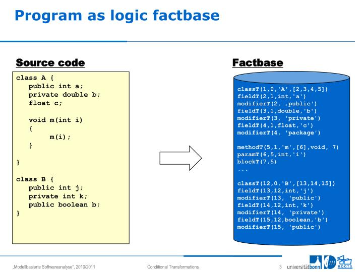 Program as logic factbase