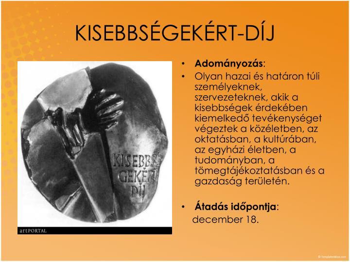 KISEBBSÉGEKÉRT-DÍJ