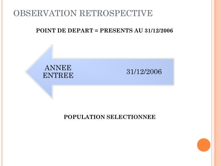 OBSERVATION RETROSPECTIVE