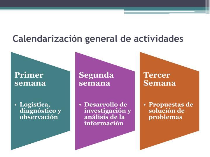 Calendarización general de actividades