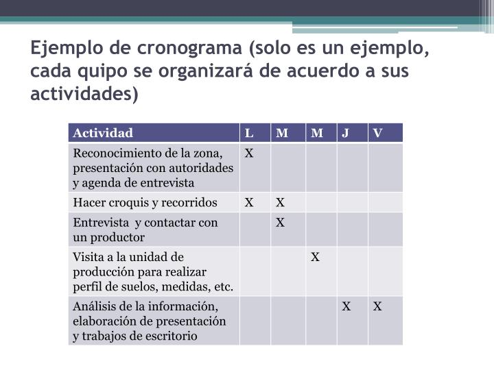 Ejemplo de cronograma (solo es un ejemplo, cada quipo se organizará de acuerdo a sus actividades)