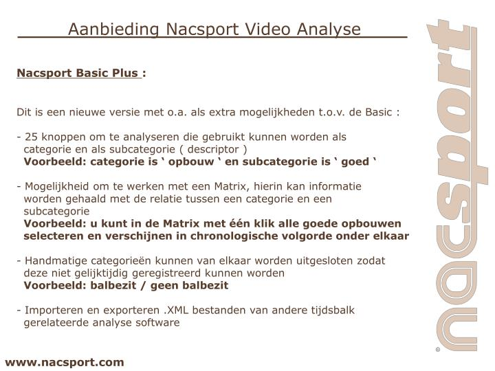 Aanbieding Nacsport Video Analyse