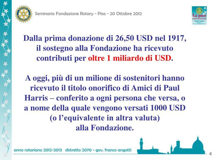 Dalla prima donazione di 26,50 USD nel 1917, il sostegno alla Fondazione ha ricevuto contributi per