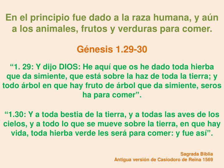 En el principio fue dado a la raza humana, y aún a los animales, frutos y verduras para comer.