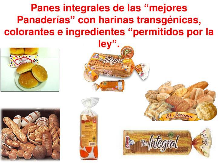 """Panes integrales de las """"mejores Panaderías"""" con harinas transgénicas, colorantes e ingredientes """"permitidos por la ley""""."""