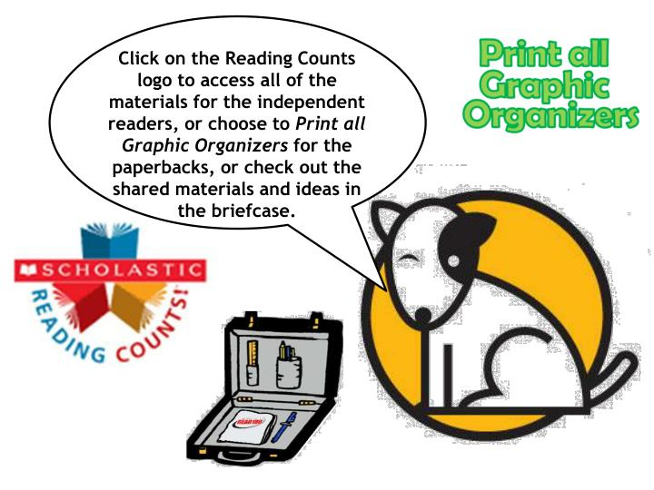 Click on the Reading Counts logo to access all of the materials for the independent readers, or choo...