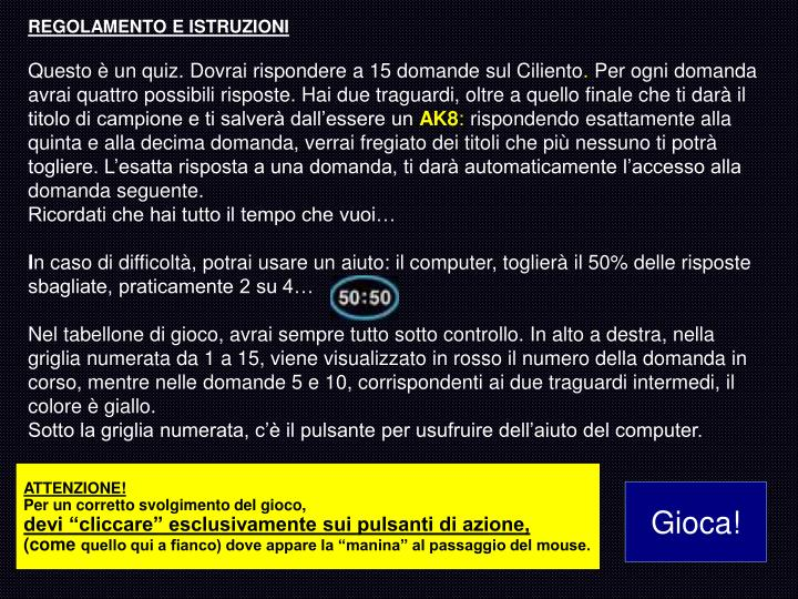 REGOLAMENTO E ISTRUZIONI