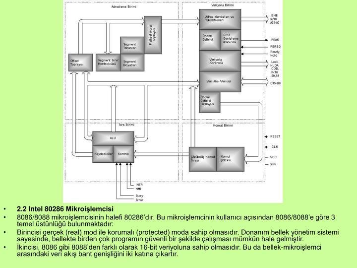 2.2 Intel 80286 Mikroilemcisi