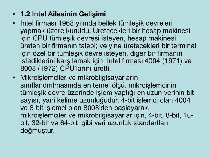 1.2 Intel Ailesinin Geliimi
