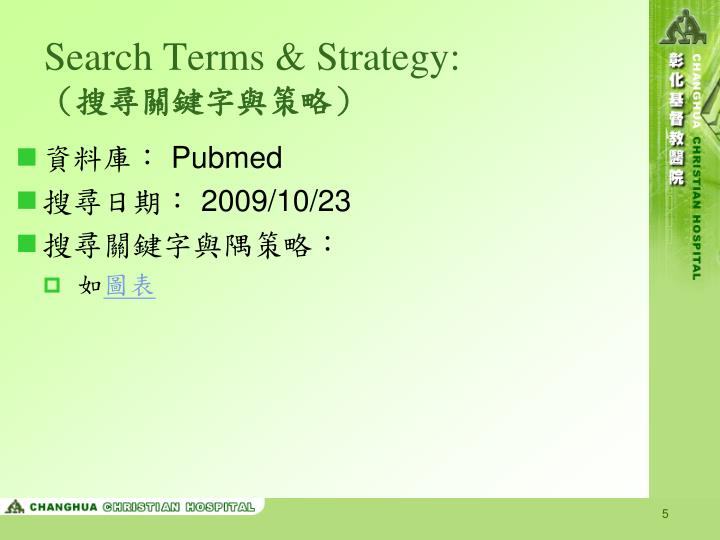 Search Terms & Strategy: