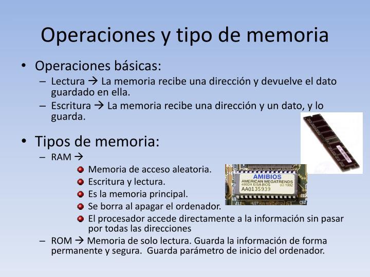 Operaciones y tipo de memoria