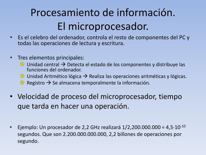 Procesamiento de información.