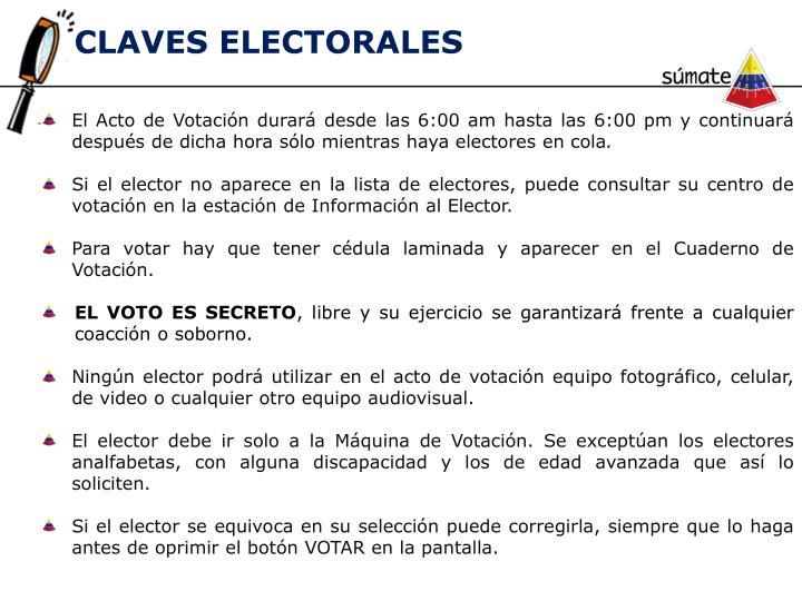 CLAVES ELECTORALES