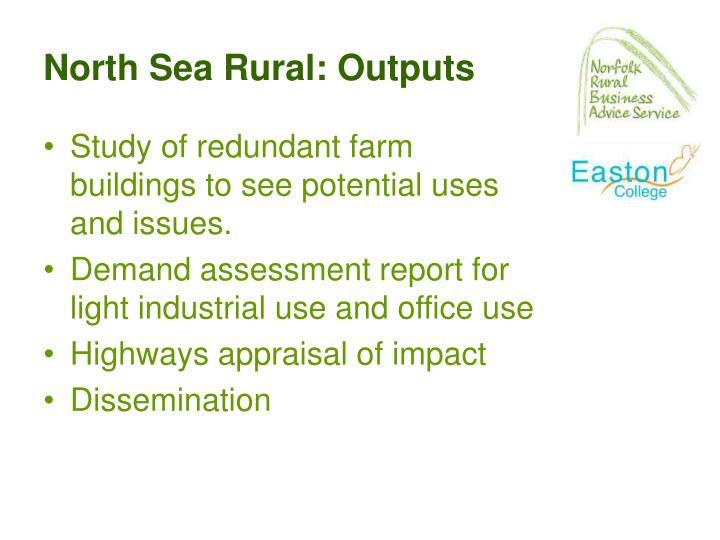 North Sea Rural: Outputs