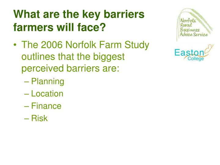 What are the key barriers farmers will face?