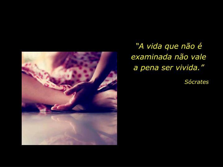 """""""A vida que não é examinada não vale             a pena ser vivida."""""""