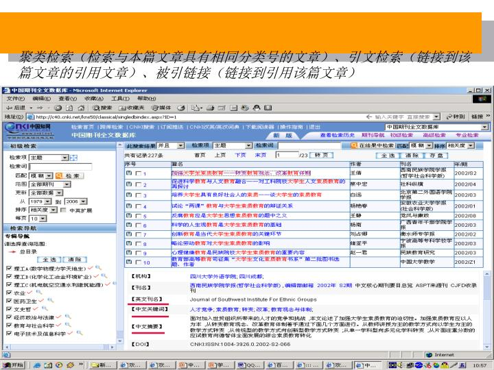 聚类检索(检索与本篇文章具有相同分类号的文章)、引文检索(链接到该篇文章的引用文章)、被引链接(链接到引用该篇文章)