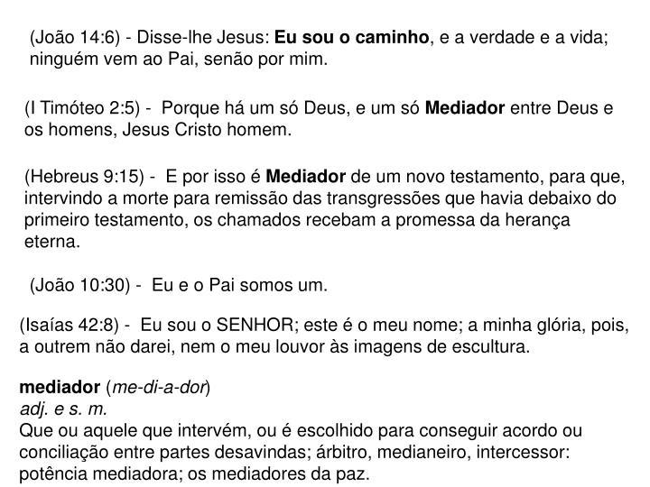 (João 14:6) - Disse-lhe Jesus: