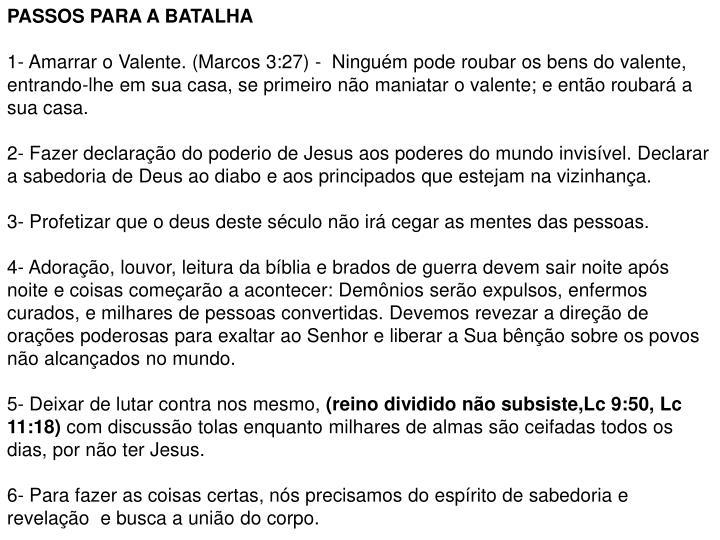 PASSOS PARA A BATALHA