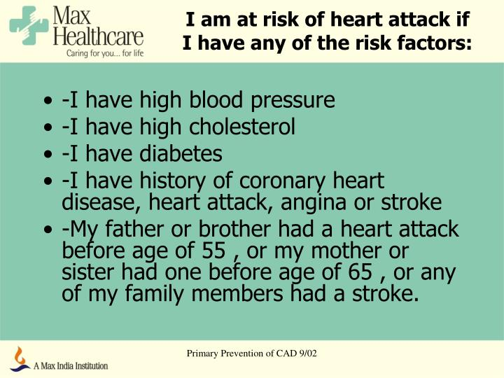 the risk factors of heart attack Most people know about common risk factors for heart attack, including smoking, diabetes, high blood pressure, obesity and lack of exercise these tend to be universal, meaning they can increase.