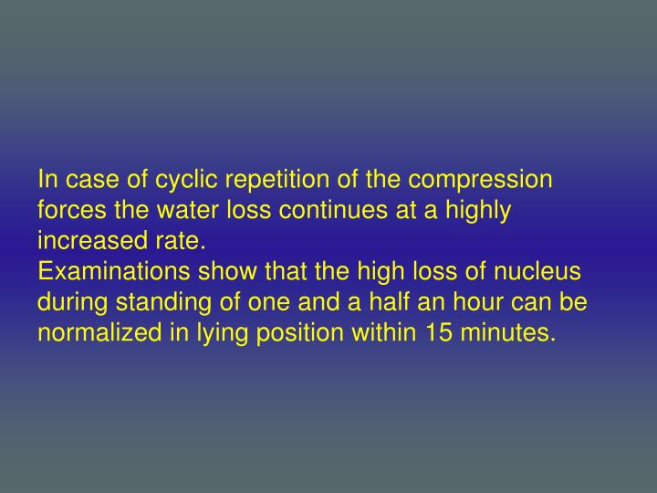 In case of cyclic repetition of the compression forces the water loss continues at a highly increased rate.