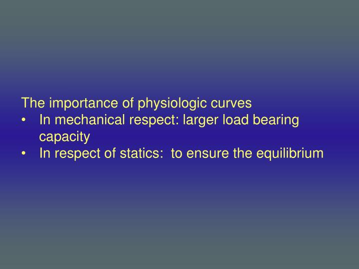 The importance of physiologic curves