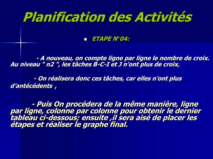Planification des Activités