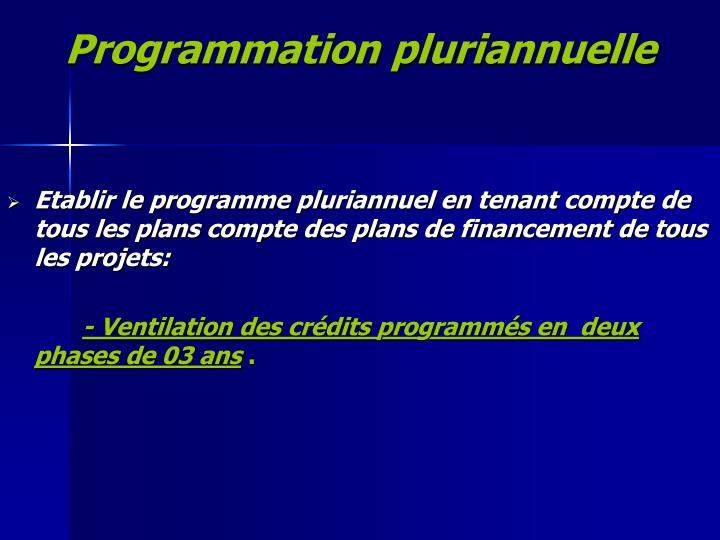 Programmation pluriannuelle