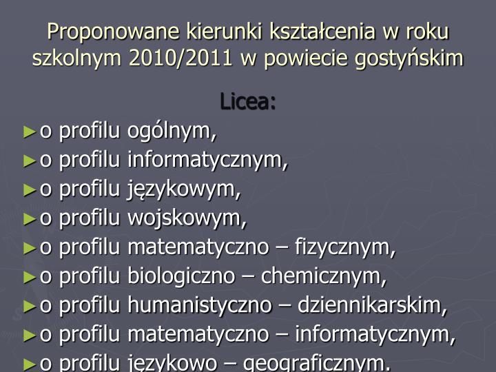 Proponowane kierunki kształcenia w roku szkolnym 2010/2011 w powiecie gostyńskim