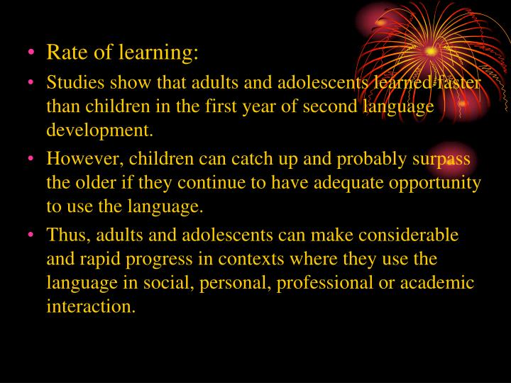 Rate of learning: