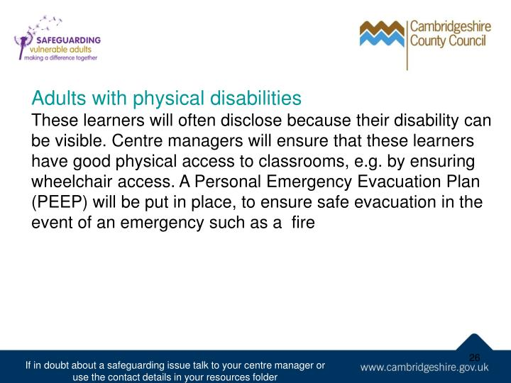 Adults with physical disabilities