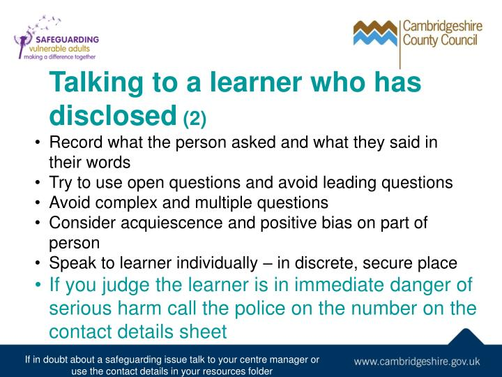 Talking to a learner who has disclosed
