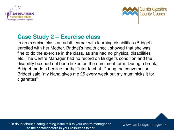 Case Study 2 – Exercise class